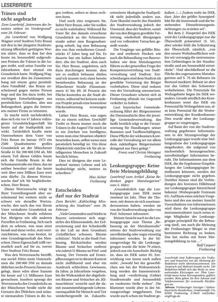 ISEK Lenkungsgruppe - Keine Bedenken gegen Matulusgarten