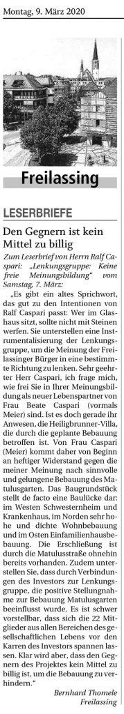ISEK Lenkungsgruppe - Keine Bedenken gegen Matulusgarten - Leserbrief Thomele