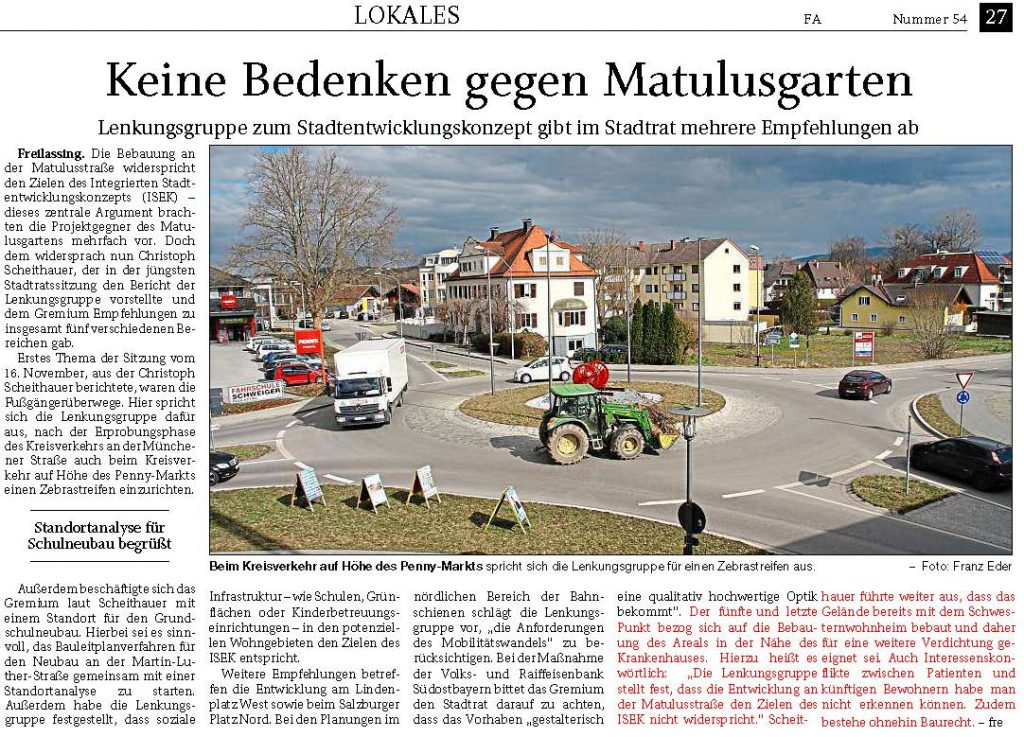 Lenkungsgruppe ISEK - Keine Bedenken gegen Matulusgarten - 20200305 RTgB