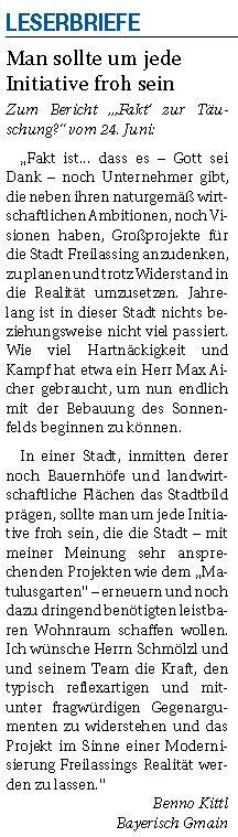 """""""Fakt"""" zur Täuschung - LB Kittl - FA vom 27.06.2020"""