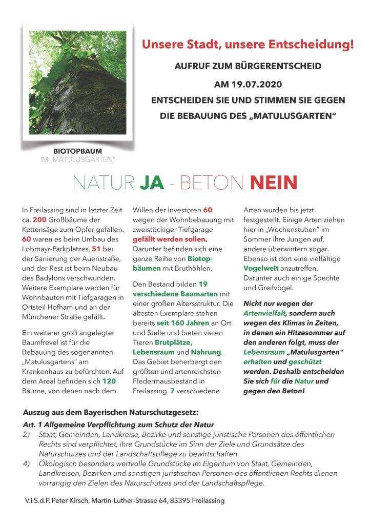 Natur JA - Beton NEIN