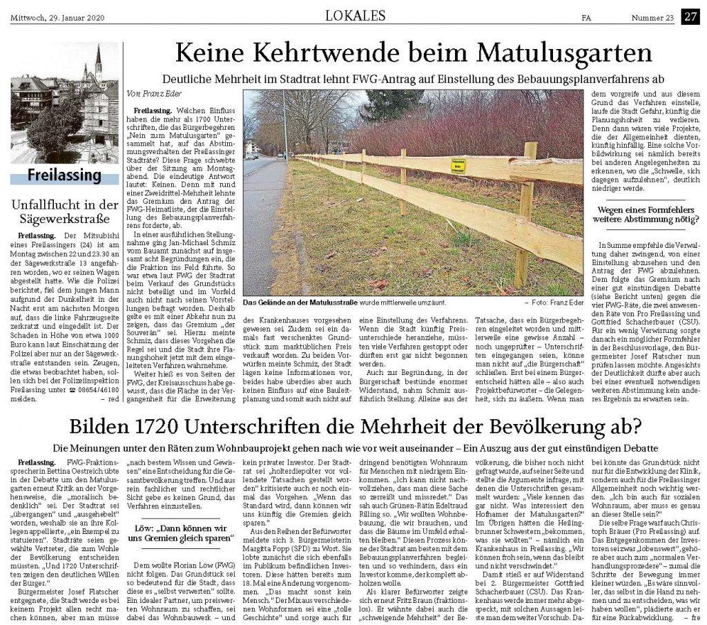 Keine Kehrtwende beim Matulusgarten - FA 29.01.2020