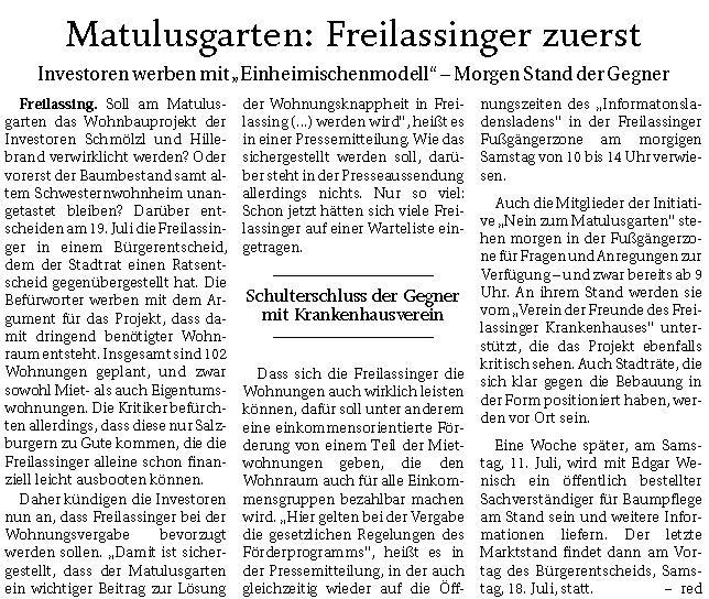 Matulusgarten - Freilassinger zuerst - RTgB vom 03.07.2020