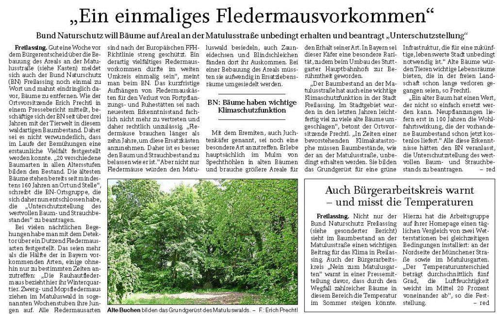 Bund Naturschutz beantragt Unterschutzstellung des Matulusgartens - FA 13.07.2020