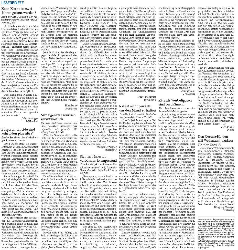 Matulusgarten - abschließende Leserbriefe - RTgB vom 17.07.2020