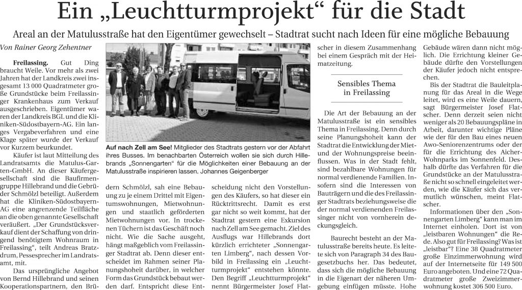 """Ein """"Leuchtturmprojekt"""" für die Stadt"""
